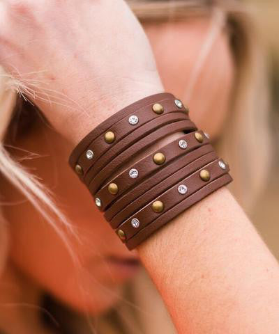 Rhinestone & Stud Leather Cuff Bracelet