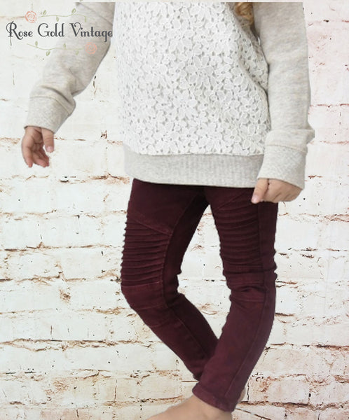 Moto Jeggings in Burgundy (Girls)