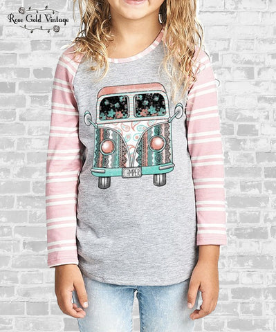 VW Bus Raglan - Pink Stripe (Girls)