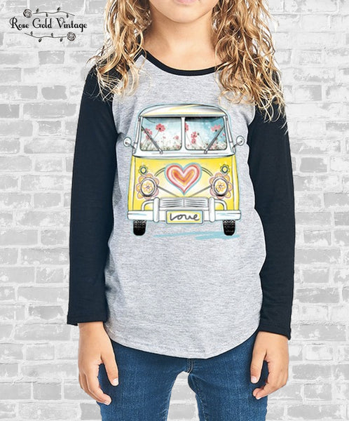 VW Bus Raglan - Navy (Girls)