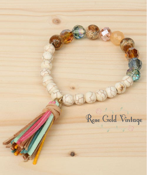 Beaded Stretch Bracelet with Tassel (Multi-Color)
