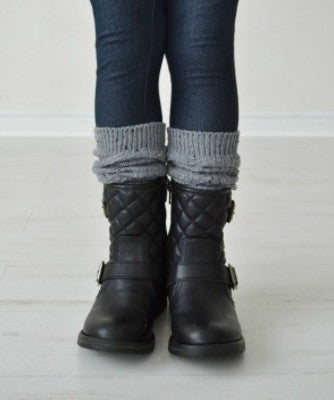 Girls Confetti Knit Boot Socks - Gray
