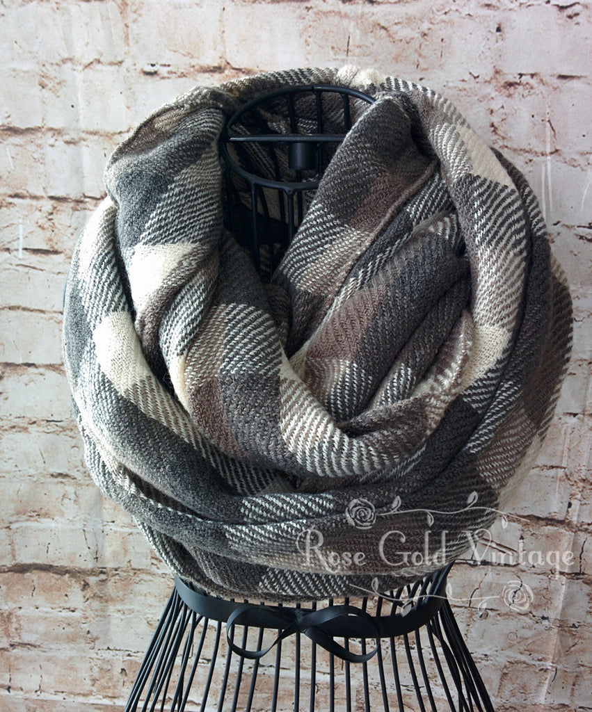 Gray Plaid Infinity Scarf