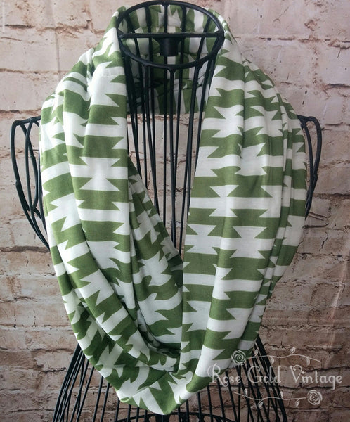 Aztec Infinity Scarf - Green