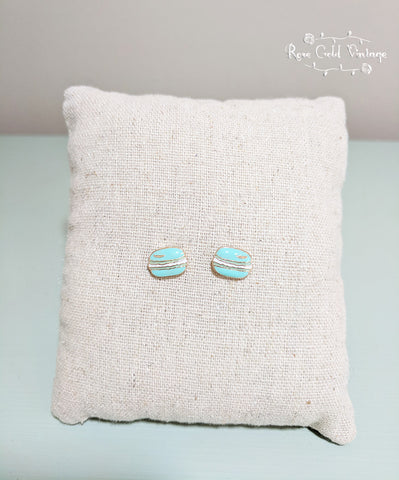 Macaron Stud Earrings - Blue/Green