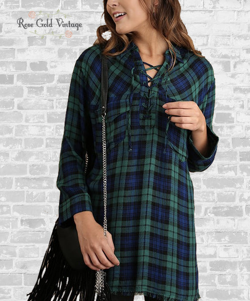 Plaid Lace Up Tunic - Blue & Green
