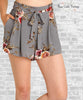 Floral Crepe Pleated Shorts - Gray