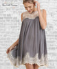 Sleeveless Lace Dress - Gray