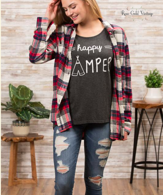 Happy Camper Tee - Charcoal