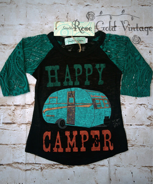 Happy Camper Burnout Lace Sleeve Tee (Toddler & Youth)