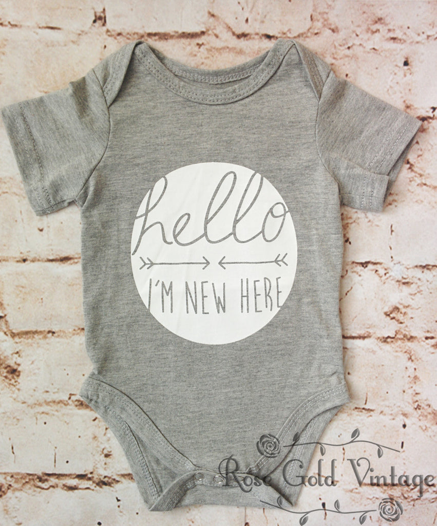 Hello I'm New Here Onesie - Gray (Infant)