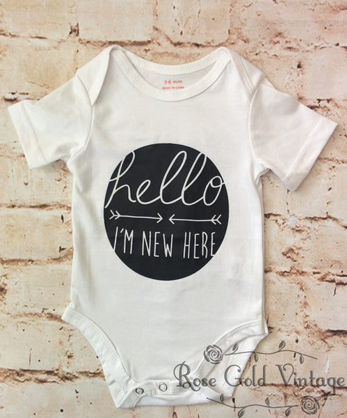 Hello I'm New Here Onesie - White (Infant)