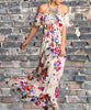 Off Shoulder Floral Maxi - Cream