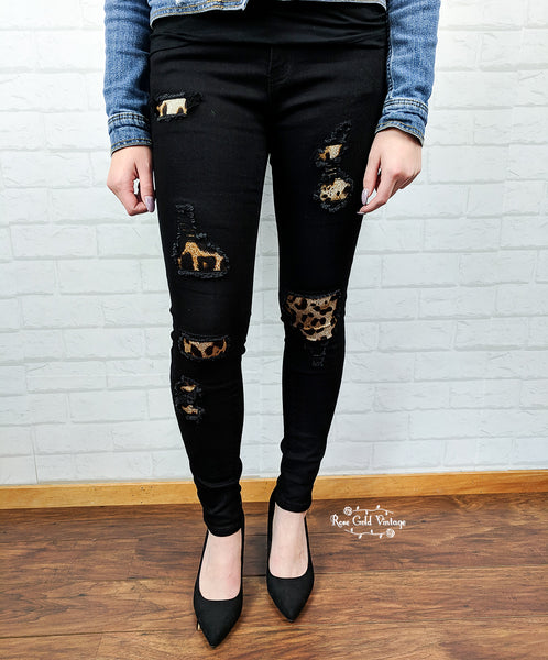 Black Skinny Leopard Patch Jeans by Judy Blue