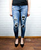 Camo Patch Cuffed Skinny Jeans by Judy Blue - Size 0 or 3 only
