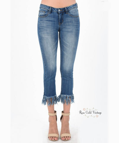 Frayed Hem Cropped Jeans by Judy Blue