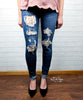 Lace Patch Skinny Jeans by Judy Blue