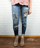 Leopard Patch Distressed Jeans by Judy Blue