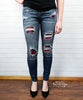 Plaid Patch Skinny Jeans by Judy Blue
