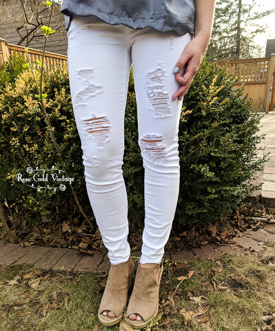 Distressed White Skinny Jeans by Judy Blue