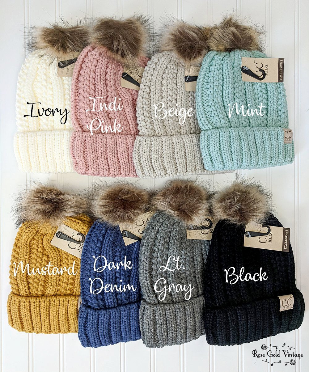 239ca80b918 KIDS Sherpa Lined Faux Fur Pom CC Beanies – Rose Gold Vintage