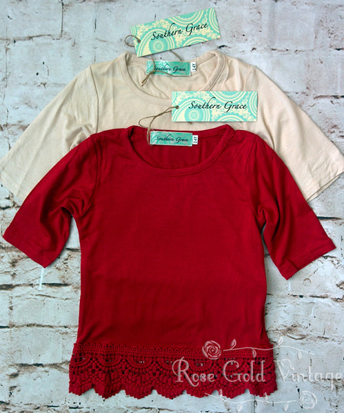 Lace Extender Tee - Beige or Red (Toddler & Youth)
