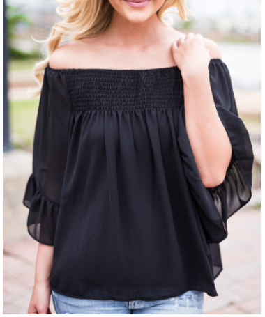 Flutter Sleeve Smock Top - Black