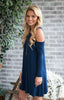 Oliver Cold Shoulder Dress - Navy