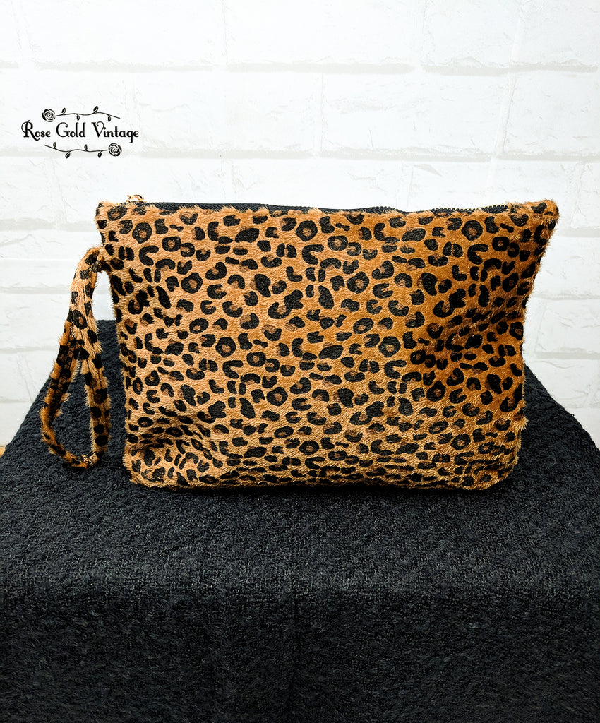 Calf Hair Leopard Clutch Wristlet - Brown