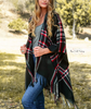 Classic Fall Plaid Poncho - Black