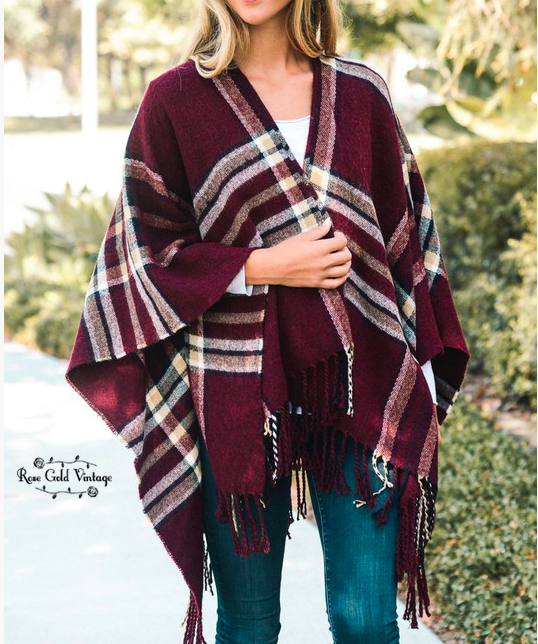 Classic Fall Plaid Poncho - Burgundy