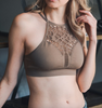 Floral Cut Out Seamless Bralette - Mocha