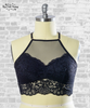 High Neck Lace Racerback Bralette - Black
