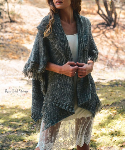 Shawl Collar Mixed Knit Ruana Wrap - Gray