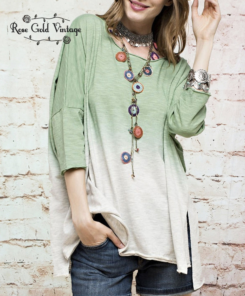 3/4 Sleeve Ombre Tunic Top - Lime (Ladies)