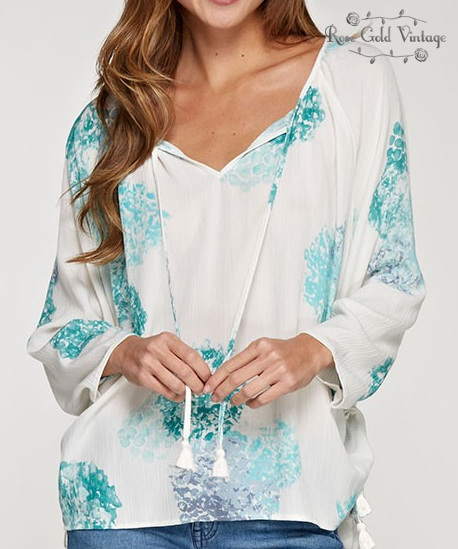 Watercolor Floral Long Sleeve Blouse