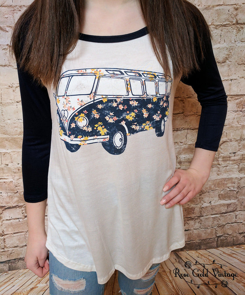 Retro Floral VW Bus Baseball Tee (Ladies)