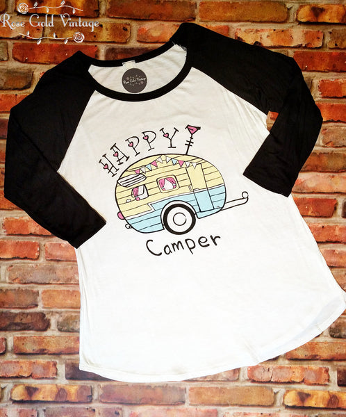 Retro Happy Camper Baseball Tee