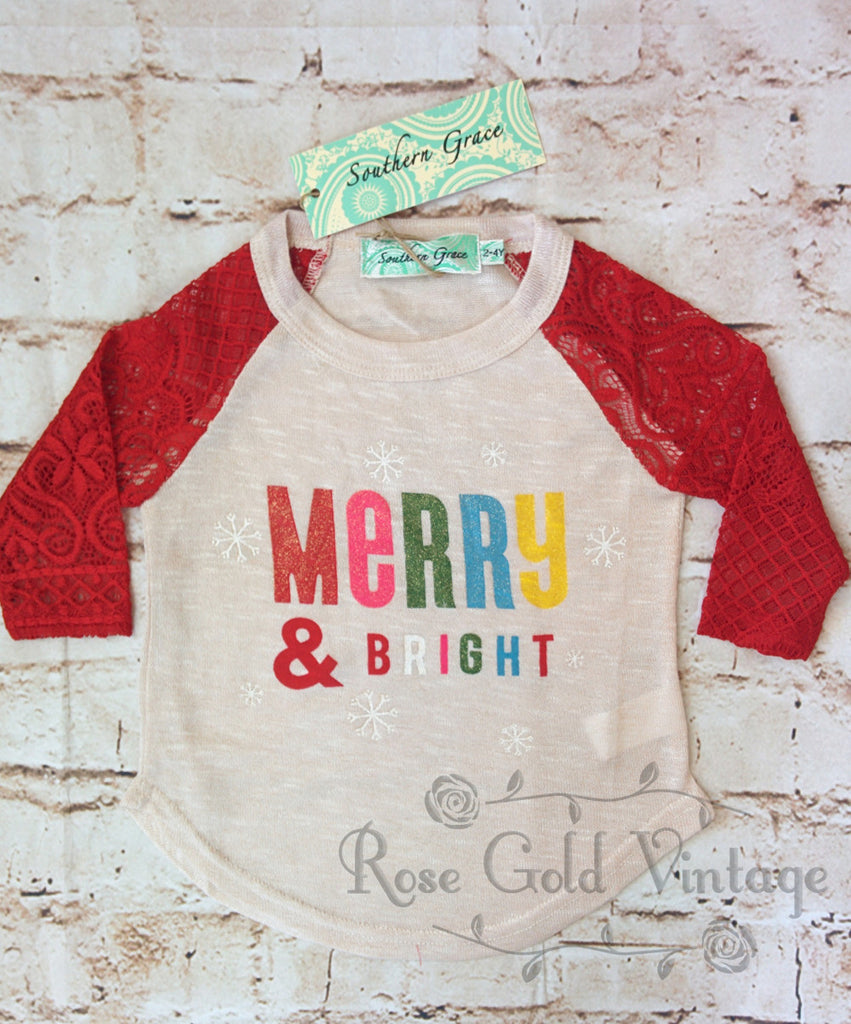 Merry & Bright Lace Sleeve Tee (Toddler & Youth)