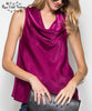 Cowl Neck Sleeveless Top - Magenta
