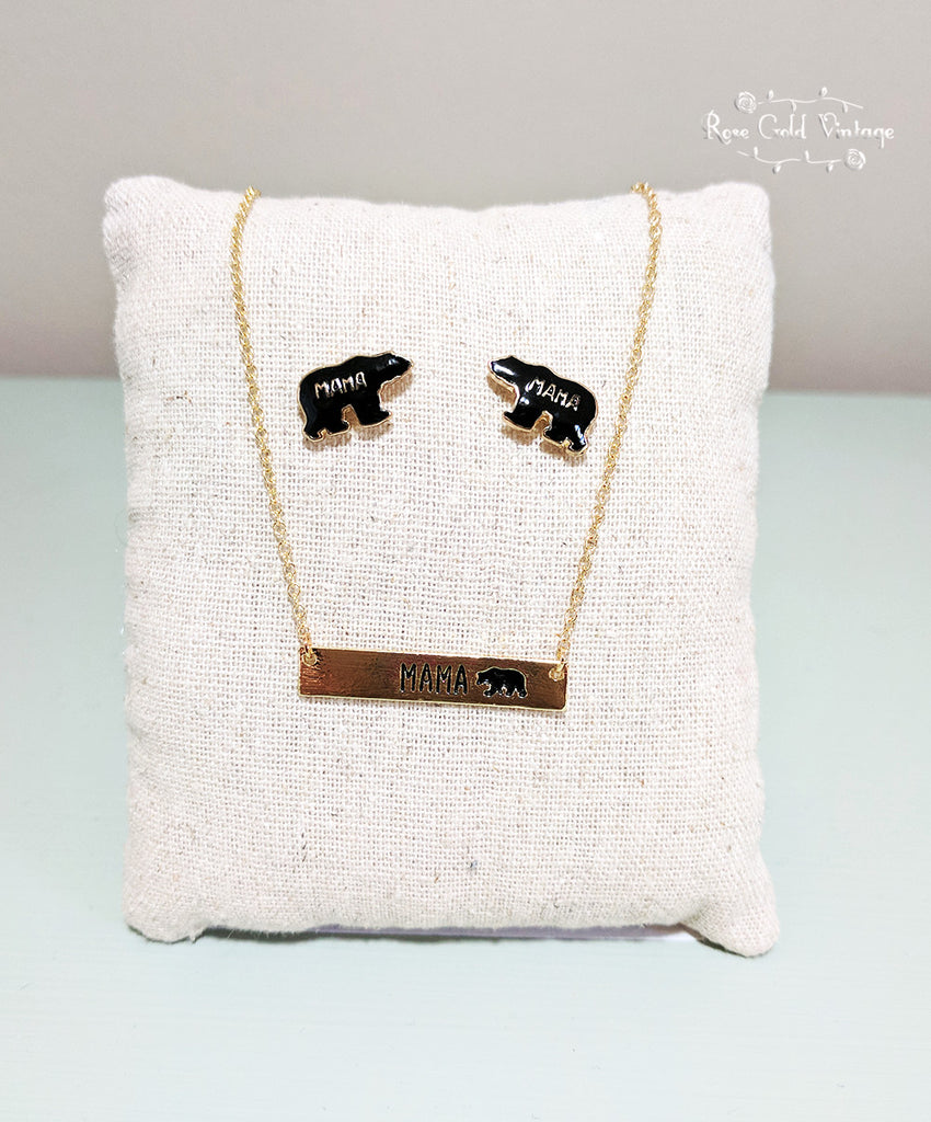 Mama Bear Earring & Necklace Set