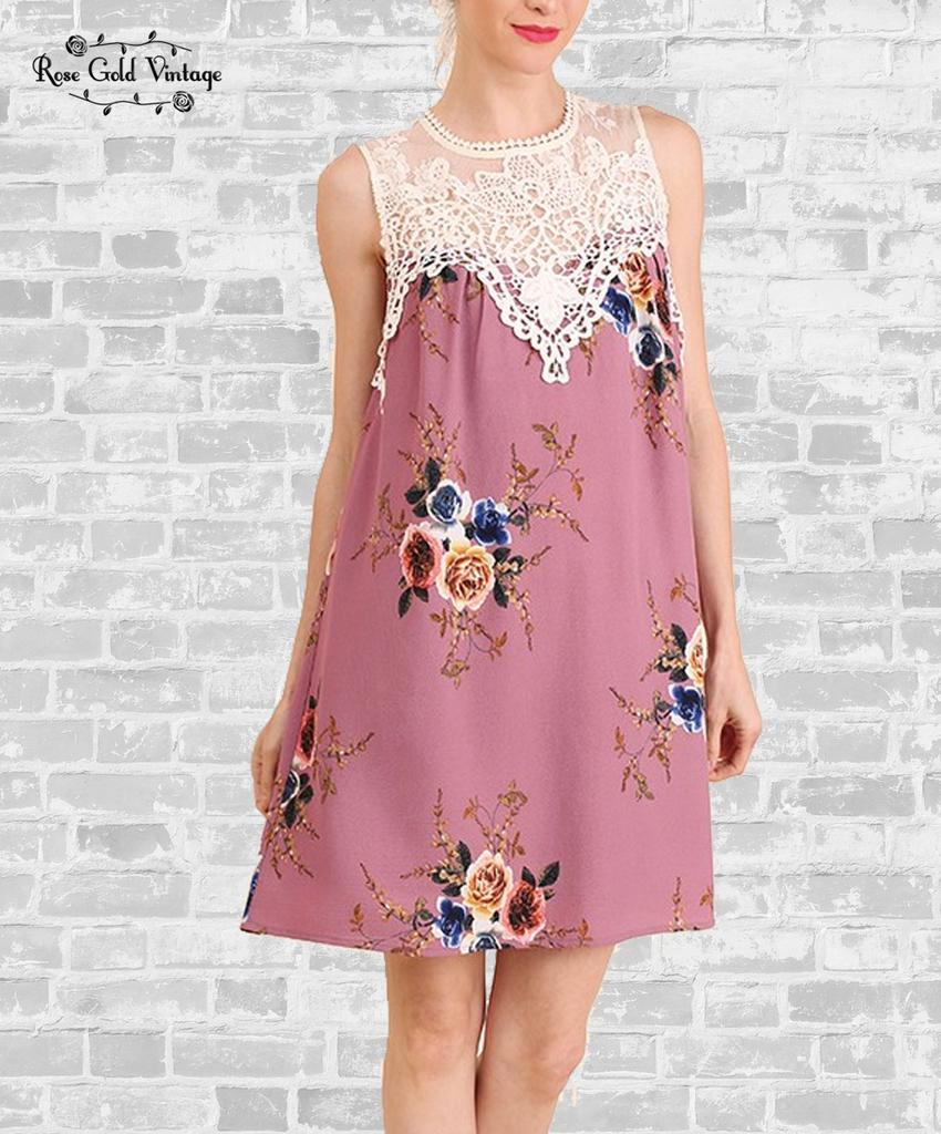 Sleeveless Floral Lace Dress - Dusty Rose