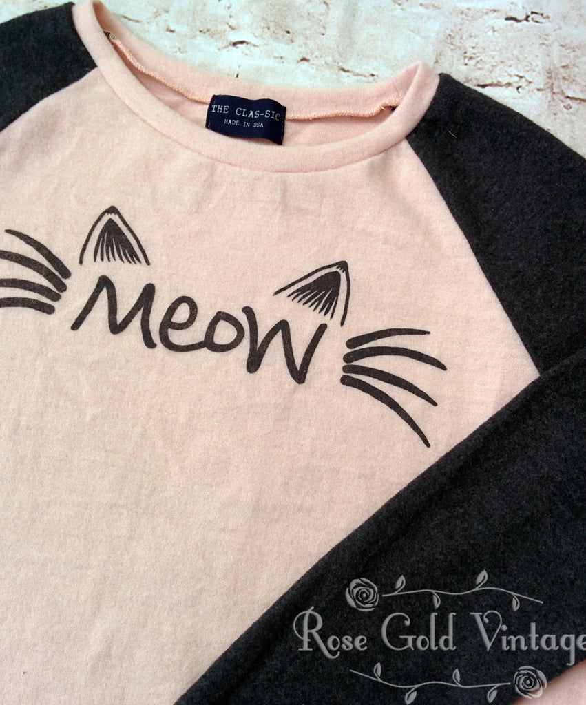 Meow Fleece Raglan Top (Ladies)