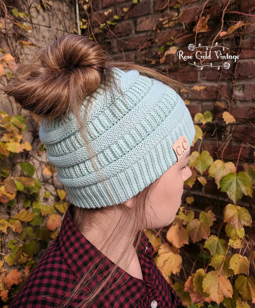 CC Messy Bun Beanies - Cotton Knit