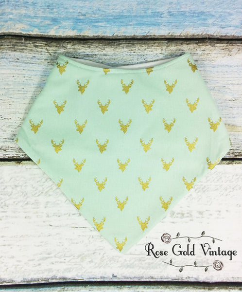 Gold & Mint Deer Bibdana