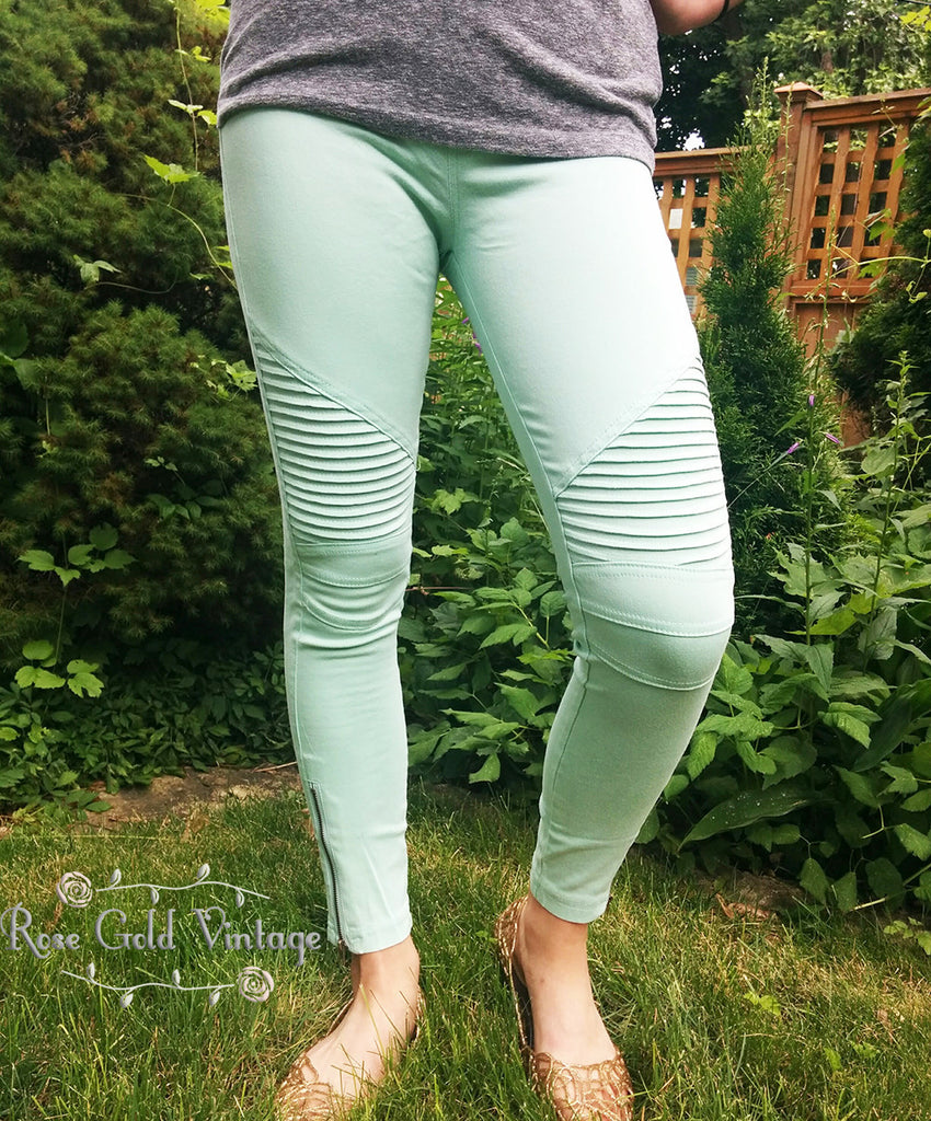 Denim Moto Jeggings - Mint (Ladies)