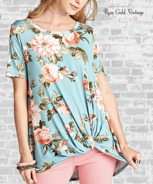 Floral Knot Tee - Blue