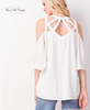 Criss Cross Open Shoulder Top - Ivory