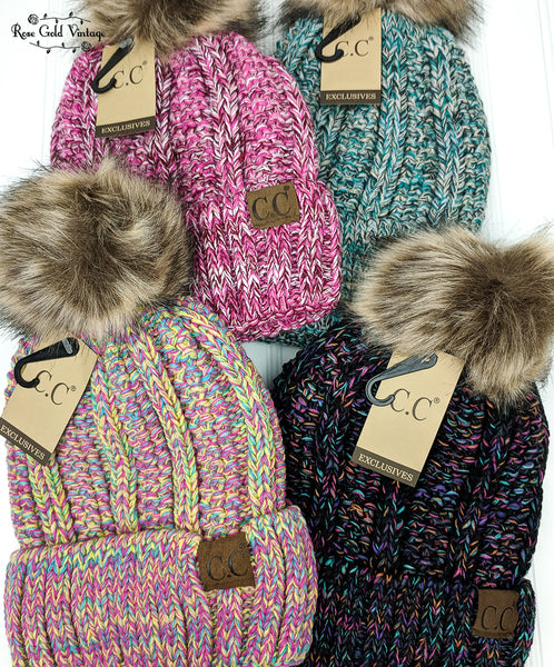 Mixed Knit Sherpa Lined Fur Pom CC Beanies