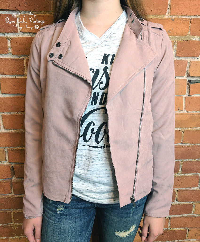 Peach Skin Moto Jacket - Blush